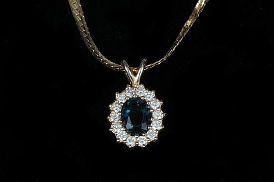 14K YELLOW GOLD, DIAMOND AND SAPPHIRE OVAL PENDANT ON CHAIN,