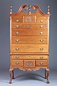 CHIPPENDALE STYLE WALNUT HIGHBOY IN TWO PARTS, 20th century. - 79 1/4 in. x 42 in. x 22 1/4 in.