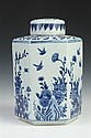 CHINESE BLUE AND WHITE PORCELAIN HEXAGONAL TEA CADDY, - 13 in. high.