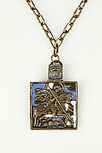 RUSSIAN ENAMELED BRASS ST. GEORGE AND THE DRAGON PENDANT ICON,