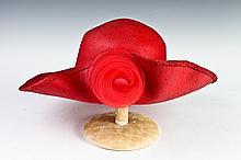 BONWIT TELLER RED STRAW HAT, 1980s.
