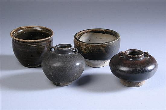 FOUR CHINESE BROWN GLAZED PORCELAIN VESSELS, Song Dynasty. - 2 1/2 in. high ; 2 1/4 in. high; 2 1/2 in. high; 2 1/4 in. high.