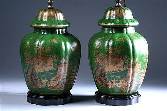 PAIR CHINESE GREEN AND GILT PORCELAIN JARS AND COVERS. - 10 in. high.