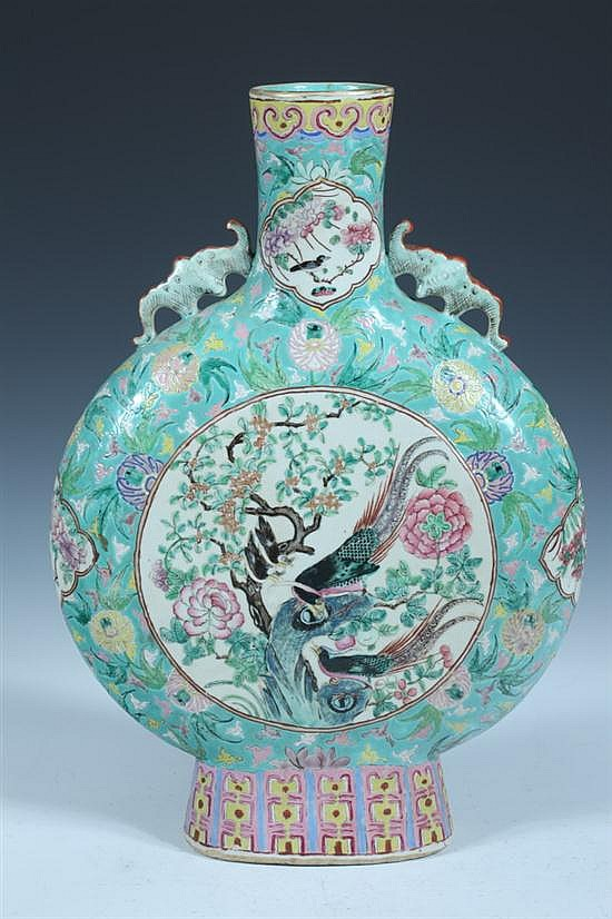 CHINESE FAMILLE ROSE PORCELAIN MOON FLASK, 19th Century. - 19 in. high.
