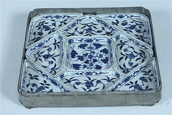 CHINESE BLUE AND WHITE PORCELAIN SWEET MEAT SET, Republic Period,