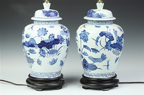 PAIR CHINESE BLUE AND WHITE PORCELAIN VASES, - 14 in. high.