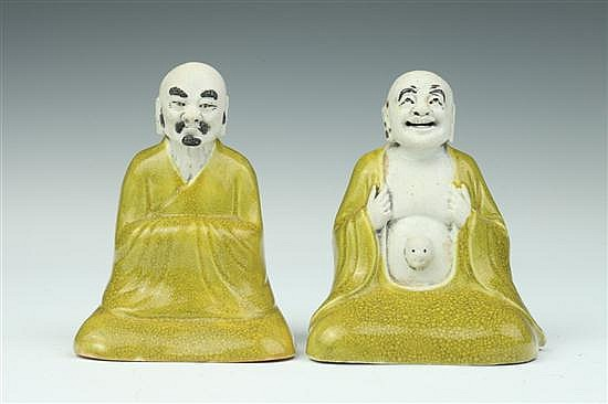 TWO CHINESE YELLOW AND BISCUIT PORCELAIN FIGURES OF MONK, Jiang Bo Xiang maker's mark, Republic Period. - 5 in. high.