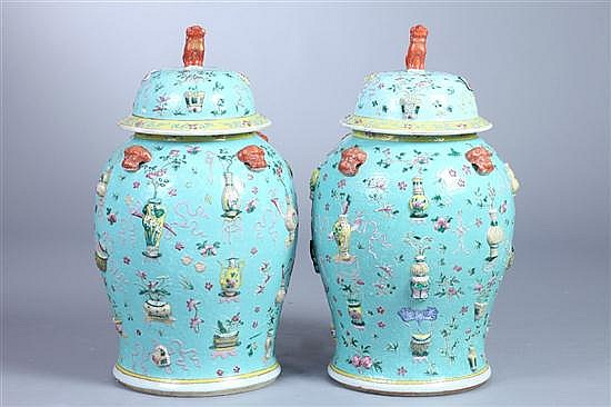 PAIR CHINESE FAMILLE ROSE PORCELAIN BALUSTER VASES AND COVERS, Daoguang Period. - 25 1/2 in. high.