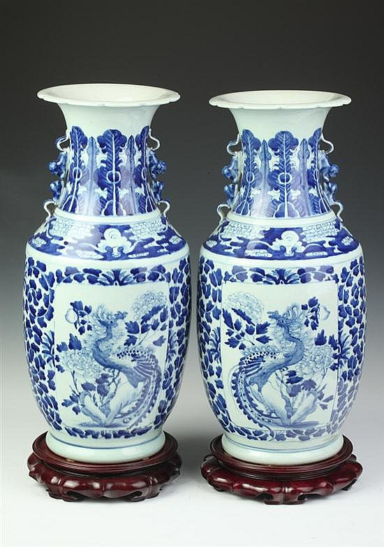 PAIR CHINESE BLUE AND WHITE PORCELAIN VASES. - 20 in. high.