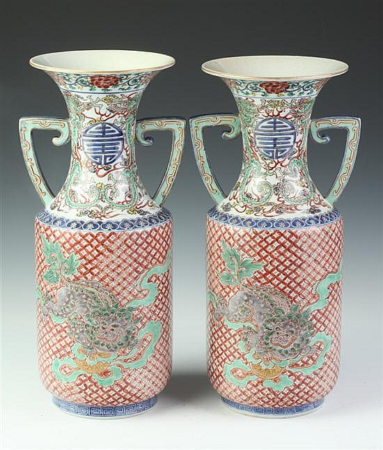PAIR CHINESE FAMILLE VERTE PORCELAIN VASES, Xuande underglazed blue seal mark, 19th Century. - 18 1/4 in. high.