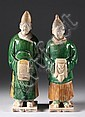 TWO CHINESE SANCAI EARTHENWARE FIGURES OF ATTENDANTS, Ming dynasty. - 13 in. high.
