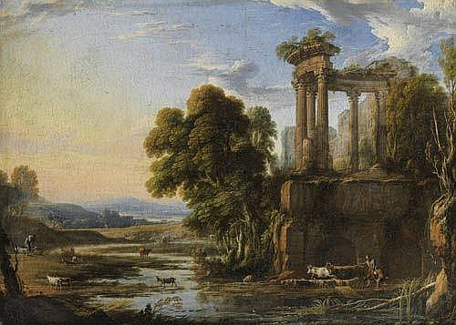 Pierre Patel l'Ancien , Chauny, Picardie 1605 - 1676 Paris Paysage au crépuscule avec des bergers près d'un temple de Vesta Pierre Patel the Elder ; A landscape at evening with shepherds by a temple of Vesta ; oil on canvas Huile sur toile