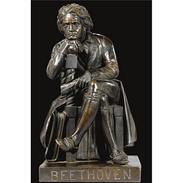 - William Wetmore Story , American 1819-1895 Beethoven bronze, dark brown patina