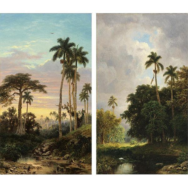 Esteban Chartrand (1824-1884) , Two Cuban Landscapes oil on canvas