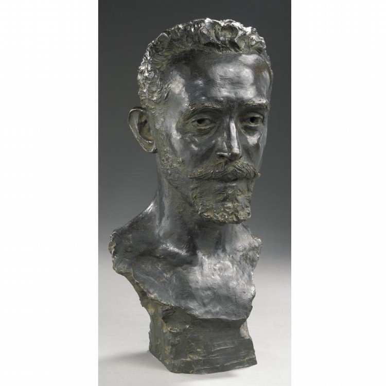 LEOPOLD BERNARD BERNSTAMM(1859-1939), A BRONZE BUST OF PIOTR ILYICH TCHAIKOVSKY