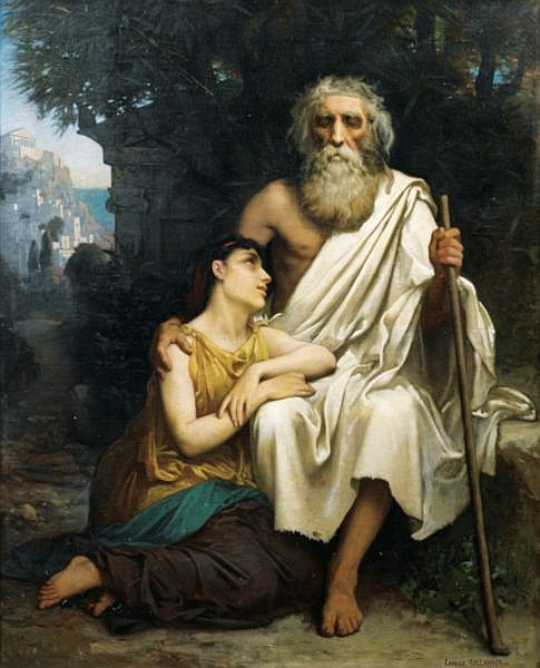 Camille-Félix Bellanger , Paris 1853 - 1923 Paris Oedipe et Antigone Camille Bellanger ; Oedipus and Antigone ; bears signature lower right ; oil on canvas Huile sur toile