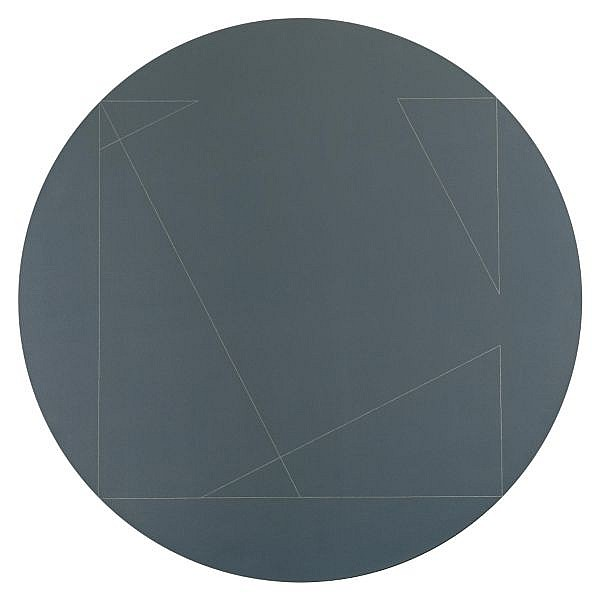 Robert Mangold , b. 1937 Four Triangles Within a Circle #2 acrylic and white pencil on canvas
