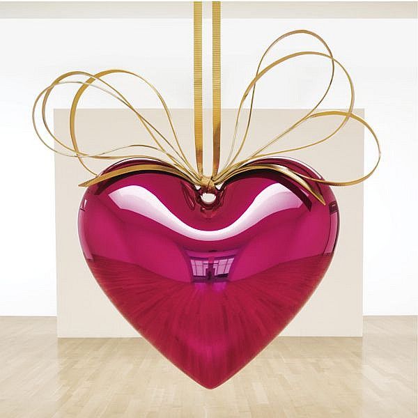 l - Jeff Koons , b. 1955 Hanging Heart (Magenta/Gold) high chromium stainless steel with transparent color coating and yellow brass