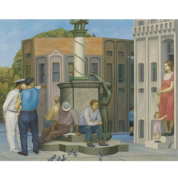 Henry Koerner 1915-1991 , The Square oil on masonite