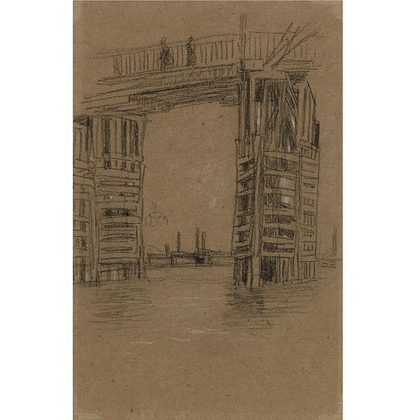 James McNeill Whistler 1834-1903 , Study for The Tall Bridge charcoal and chalk on brown paper
