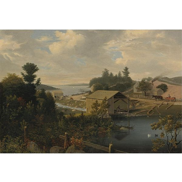 Fitz Henry Lane 1804-1865 , The Old Mill at Goose Cove, Annisquam, Gloucester oil on canvas