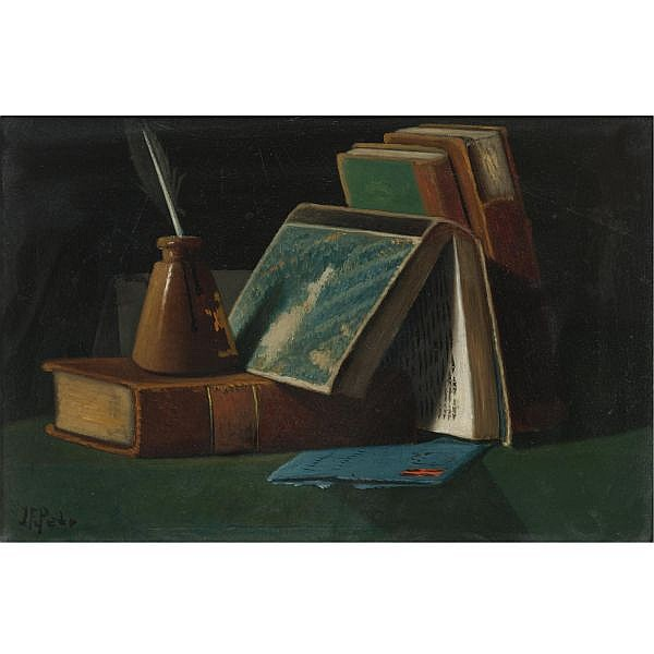 John F. Peto 1854-1907 , Books and Inkwell oil on board