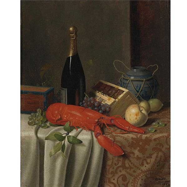 William M. Harnett 1848-1892 , Still Life with Lobster oil on canvas