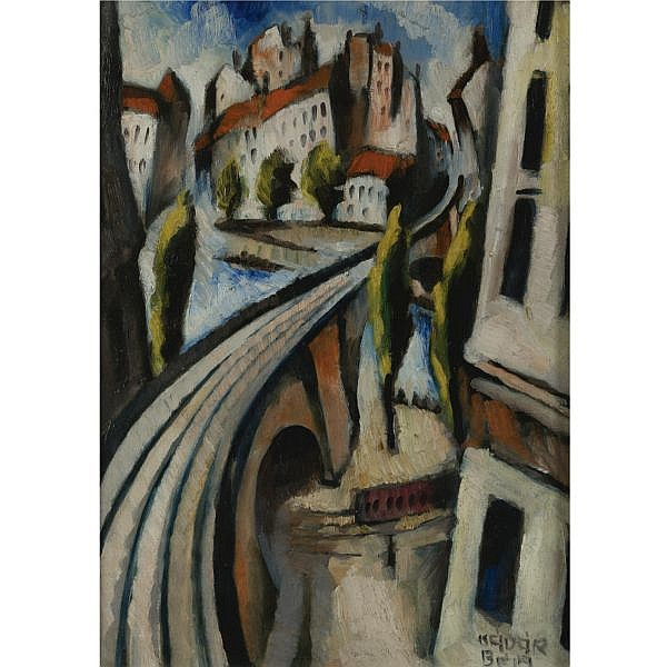 Béla Kádár 1877-1955 , Cityscape oil on paper