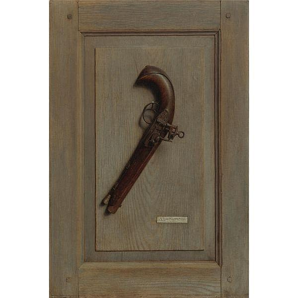 - Jefferson David Chalfant 1856-1931 , The Old Flintlock (The Old Horse Pistol) oil on canvas