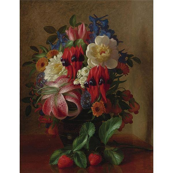 - George Henry Hall 1825-1913 , Still Life with Flowers and Strawberries oil on canvas
