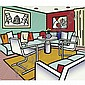 Roy Lichtenstein , Interior with Red Wall Canvas, Oil   , Roy Lichtenstein, Click for value
