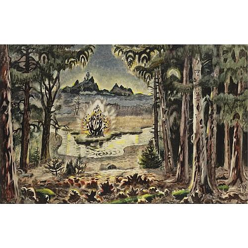 Charles Burchfield 1893-1967 , Dawn in Hemlock Woods