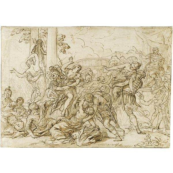 Antonio Domenico Gabbiani , Florence 1652 - 1726 the rape of the sabine women Pen and brown ink and wash over black chalk; bears inscription in pen and brown ink: P. Berretini