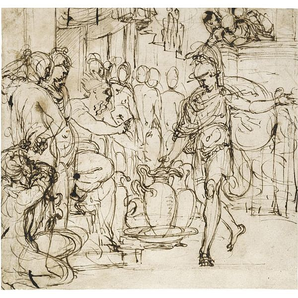 Pietro Buonaccorsi, called Perino del Vaga , Florence 1501 - 1547 Rome recto : camillus and brennus; verso : studies for three figures Pen and brown ink ( recto and verso )