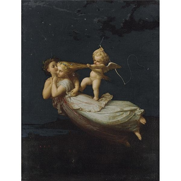 Jean-Louis Hamon , French 1821-1874 La Nuit oil on canvas