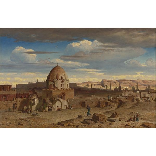 Prosper Georges Antoine Marilhat , French 1811-1847 VIEW OF THE SOUTH OF THE NECROPOLIS IN CAIRO WITH THE CITADEL IN THE BACKGROUND oil on canvas