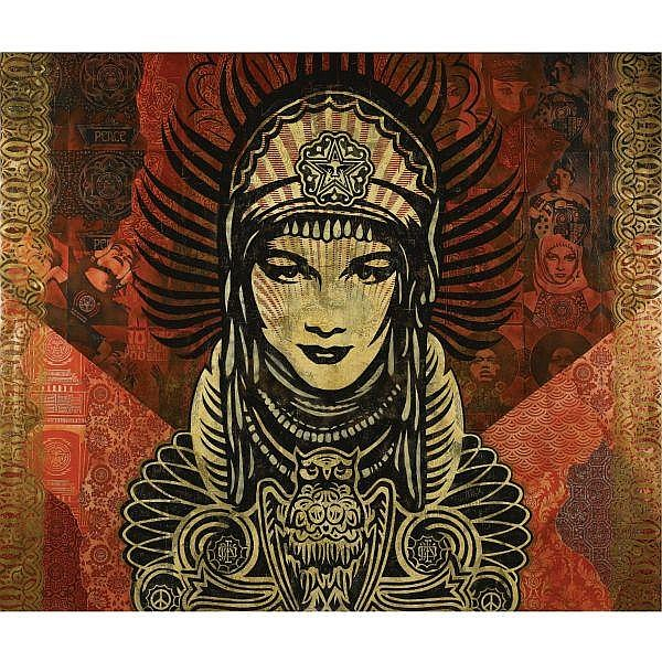 Shepard Fairey , b. 1970 Peace Goddess spray painted stencil and mixed media on canvas