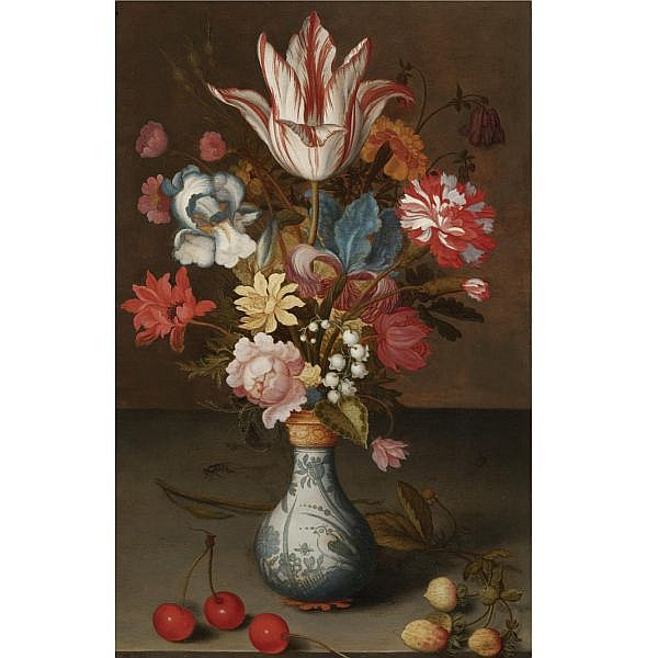 Balthasar van der Ast , Middelberg 1593/94 - 1657 Delft Still life of a 'Semper Augustus' Tulip, Irises, a Carnation and other Flowers in a Wan-Li Vase, Resting on a Table with Cherries and Berries oil on oak panel