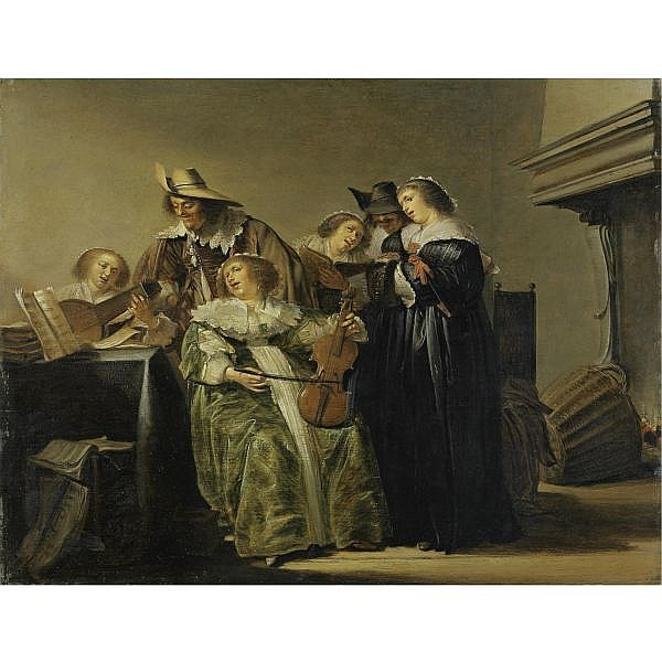 Pieter Jacobs Codde , Amsterdam 1599 - 1678 Concert in a Dutch interior by a chimney oil on panel