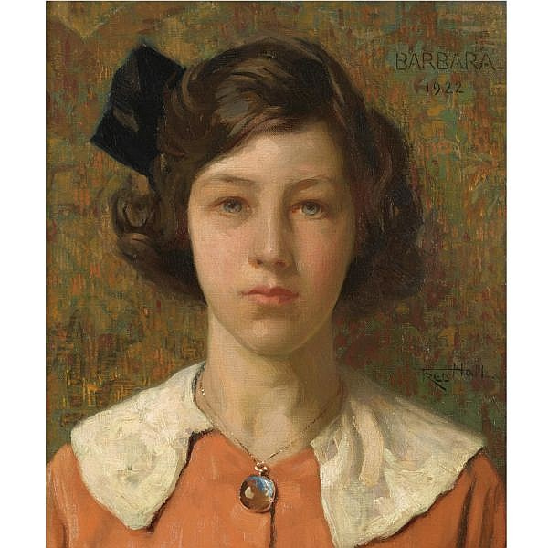 Frederick Hall 1860-1948 , portrait of barbara, the artist's daughter oil on canvas