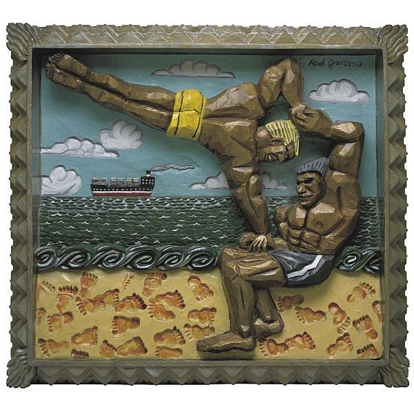 Red Grooms , b. 1937 Muscle Beach Relief   painted bronze