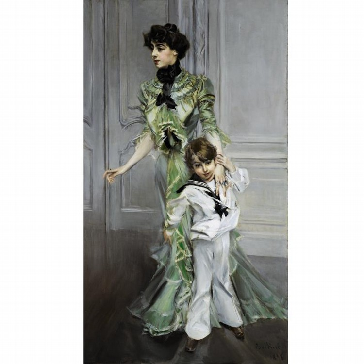 GIOVANNI BOLDINI ITALIAN, 1842-1931 PORTRAIT OF MADAME HUGO AND HER SON