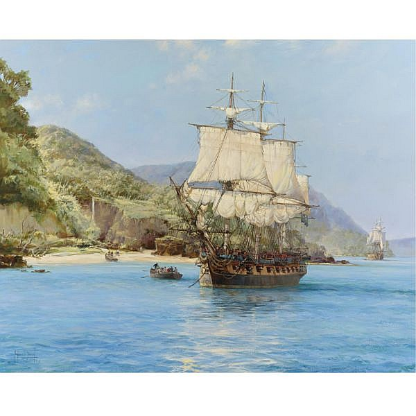 Montague Dawson R.S.M.A., F.R.S.A. , British 1895-1973 The Pirate's Cove, Wafer Bay, Cocos Islands oil on canvas