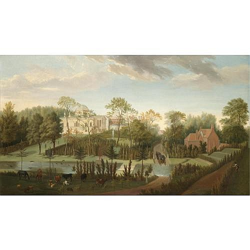 Pieter Andreas Rysbraeck 1685-1748 , A view of Chiswick House from the south-west seen across the cascade and canal