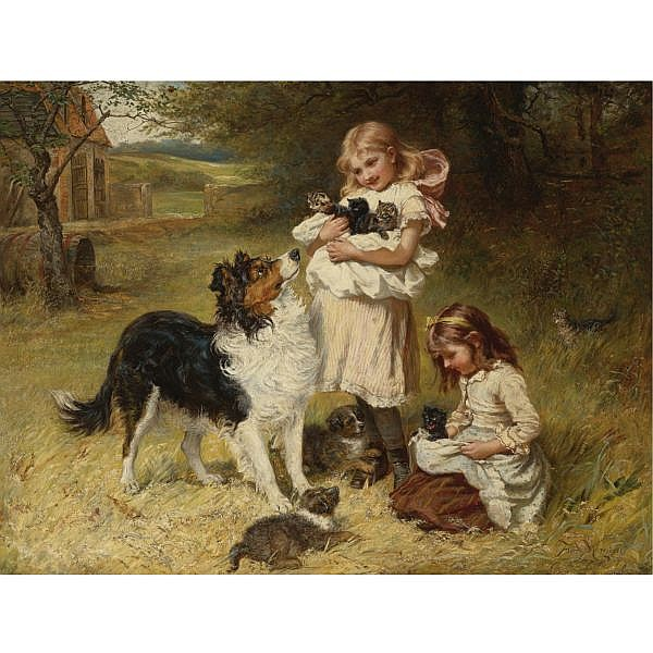 Frederick Morgan R.O.I. (British, 1847-1927) and Allen Culpepper Sealy (British, 1850-1927) , Rival Families oil on canvas