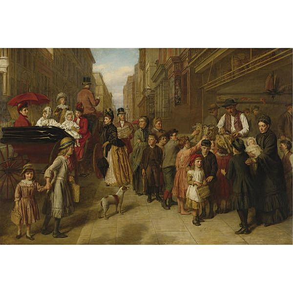 William Powell Frith, R.A. , British 1819-1909 Poverty and Wealth oil on canvas