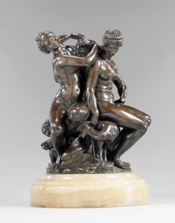 ANTOINE-LOUIS BARYE FRENCH, 1795-1875 TROIS FEMMES ASSISES: VENUS, MINERVE ET JUNON (THREE SEATED
