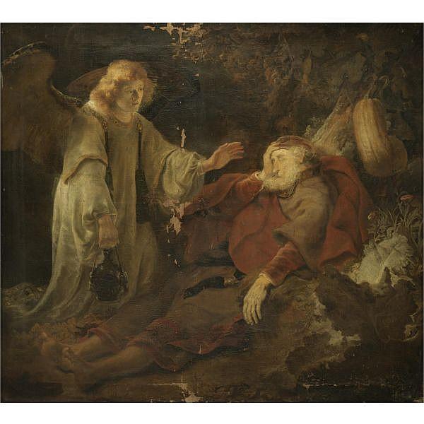 Ferdinand Bol Dordrecht 1616 - 1680 Amsterdam , the angel appearing to elijah oil on canvas