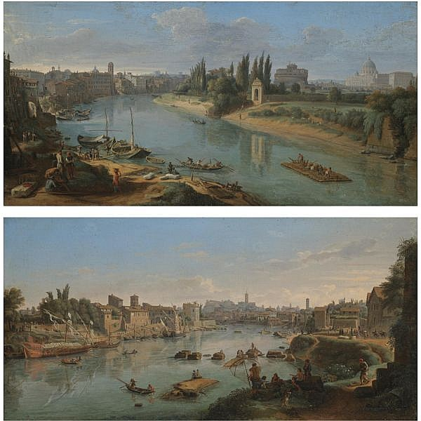 Gaspar van Wittel, called Vanvitelli Amersfoort 1652/3 - 1736 Rome , Rome, a view of the River Tiber at the Porto della Legna; Rome, a view of the River Tiber at the Porto di Ripa Grande a pair, both oil on canvas, in 18th-century French neoclassical