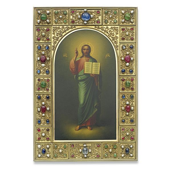 a fine and rare fabergé icon of christ pantocrator, workmaster johan victor aarne, st. petersburg, circa 1900